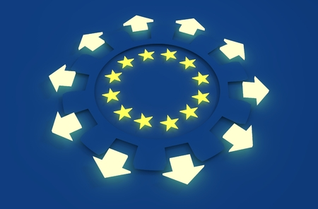 la union hace la fuerza: industria de Europa y el concepto de econom�a de la Uni�n Europea. estrellas amarillas en los engranajes radio interior. Las flechas muestran econ�mica multipurposal. representaci�n 3D