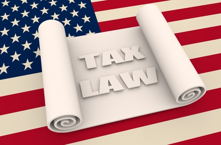 tax law: Paper scroll  on background textured by USA flag. Abstract document 3D illustration. Tax law text Stock Photo