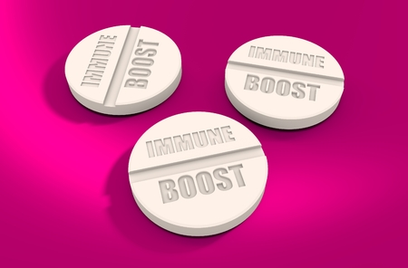 immune: Pills with immune boost text. Pharmacy and medicaments relative theme 3D rendering