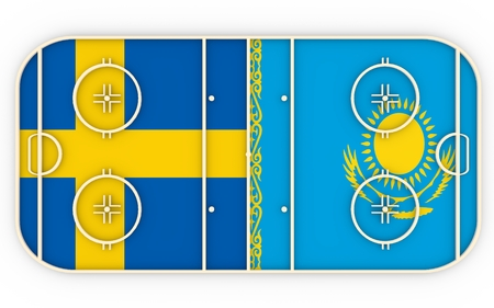 ice surface: Sweden vs Kazakhstan. Ice hockey competition 2016. National flags on playground. 3D rendering