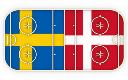 vs: Sweden vs Denmark. Ice hockey competition 2016. National flags on playground. 3D rendering