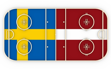 vs: Sweden vs Latvia. Ice hockey competition 2016. National flags on playground. 3D rendering