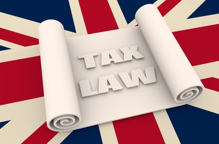 tax law: Paper scroll  on background textured by United Kingdom flag. Abstract document 3D illustration. Tax law text