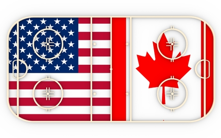 ice surface: USA vs Canada. Ice hockey competition 2016. National flags on playground. 3D rendering