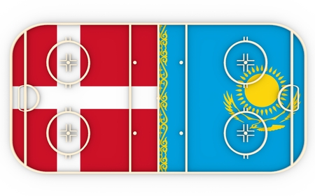 vs: Denmark vs Kazakhstan. Ice hockey competition 2016. National flags on playground. 3D rendering Stock Photo