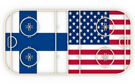 ice surface: Finland vs USA. Ice hockey competition 2016. National flags on playground. 3D rendering