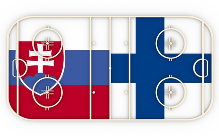 vs: Slovakia vs Finland. Ice hockey competition 2016. National flags on playground. 3D rendering