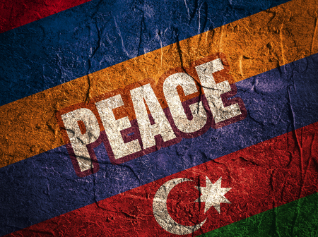area of conflict: Image relative to politic relationships between Armenia and Azerbaijan. National flags and peace text