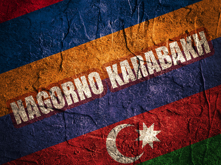 area of conflict: Image relative to politic relationships between Armenia and Azerbaijan. National flags and Nagorno Karabakh text Stock Photo