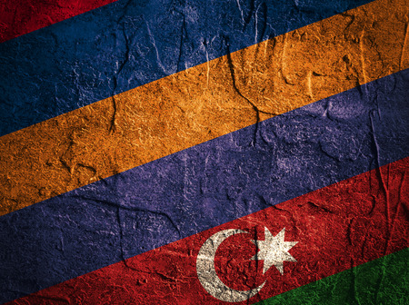 politic: Image relative to politic relationships between Armenia and Azerbaijan. National flags