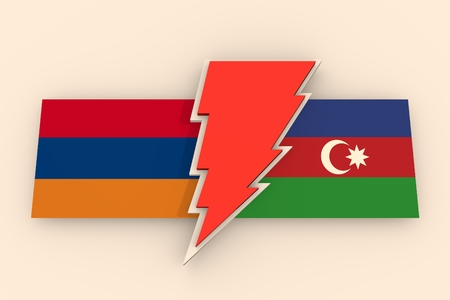 politic: Image relative to politic relationships between Armenia and Azerbaijan. National flags on triangles banner divided by high voltage sign. 3D rendering Stock Photo