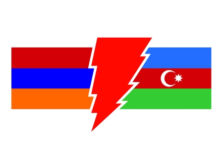cold war: Image relative to politic relationships between Armenia and Azerbaijan. National flags on triangles banner divided by high voltage sign.