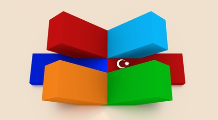 politic: Image relative to politic relationships between Armenia and Azerbaijan. National flags from cubes construction. 3D rendering