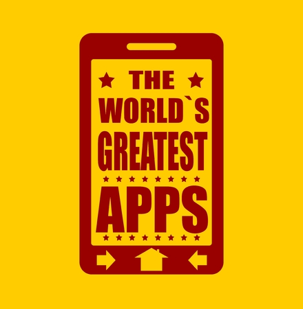 touchscreen: The worlds greatest apps text on phone screen. .  Abstract touchscreen with lettering.