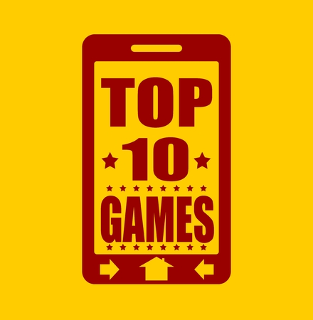 top ten: Top ten games text on phone screen.  Abstract touchscreen with lettering.