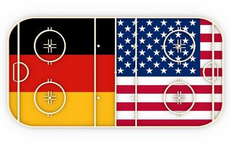 ice surface: Germany vs USA. Ice hockey competition 2016. National flags on playground. 3D rendering
