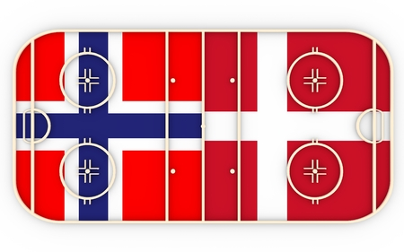 vs: Norway vs Denmark. Ice hockey competition 2016. National flags on playground. 3D rendering
