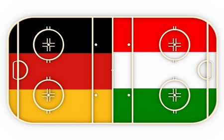 ice surface: Germany vs Hungary. Ice hockey competition 2016. National flags on playground. 3D rendering
