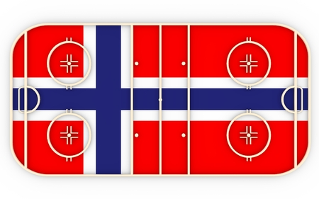 norway flag: Ice hockey field textured by Norway flag. Relative to world competition . 3D rendering. Simple playground Stock Photo