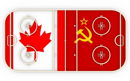 ice surface: Canada vs USSR. Ice hockey history competition. National flags on playground. 3D rendering
