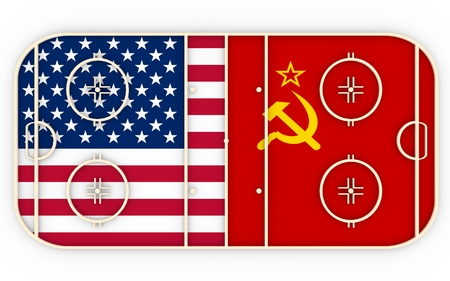 ussr: USA vs USSR. Ice hockey history competition. National flags on playground. 3D rendering Stock Photo