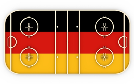 ice surface: Ice hockey field textured by Germany flag. Relative to world competition . 3D rendering. Simple playground