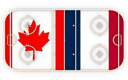 vs: Canada vs France. Ice hockey competition 2016. National flags on playground. 3D rendering