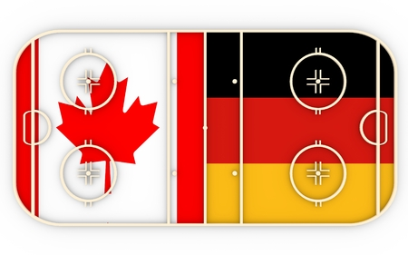 vs: Canada vs Germany. Ice hockey competition 2016. National flags on playground. 3D rendering Stock Photo