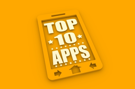 top ten: Top ten apps text on phone screen.  Abstract touchscreen with lettering. 3D rendering Stock Photo