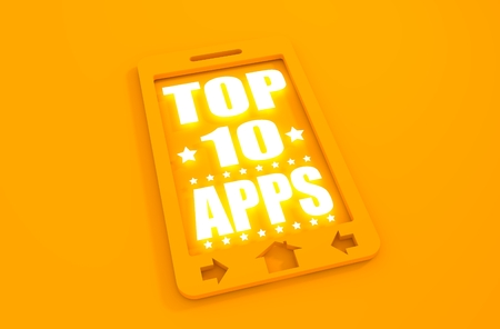 top ten: Top ten apps text on phone screen.  Abstract touchscreen with lettering. Neon shine text. 3D rendering
