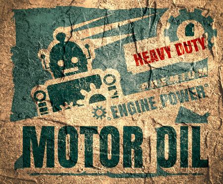 motor oil: Vintage Label Design Template. Motor oil. Garage service and repair relative illustration