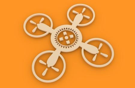 3d rendering wheel: Drone quadrocopter icon. Technology emblem. 3D rendering. Cog wheel in the center of device