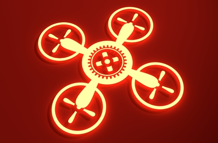 3d rendering wheel: Drone quadrocopter icon. Technology emblem. 3D rendering. Cog wheel in the center of device. Neon shine symbol