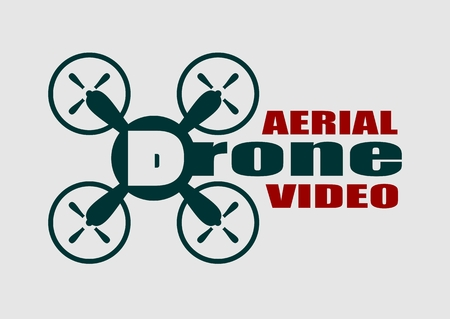 aerial: Drone quadrocopter icon. Flat symbol. Vector illustration. Aerial video text.