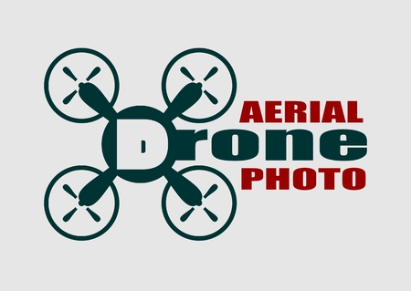 aerial: Drone quadrocopter icon. Flat symbol. Vector illustration. Aerial photo text.