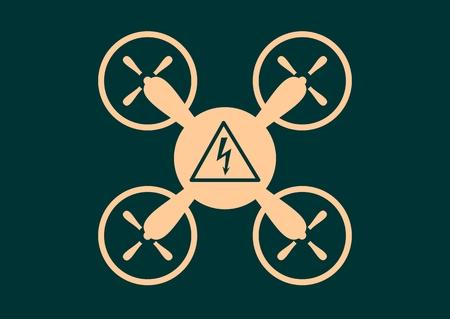 voltage danger: Drone quadrocopter icon. Flat symbol. Vector illustration. High voltage danger symbol Illustration