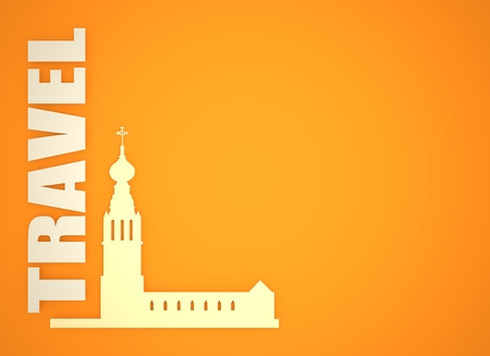 holy place: Russian orthodox church silhouette. Travel banner background. 3D rendering. Travel word