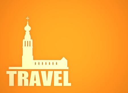 slavonic: Russian orthodox church silhouette. Travel banner background. 3D rendering. Travel word