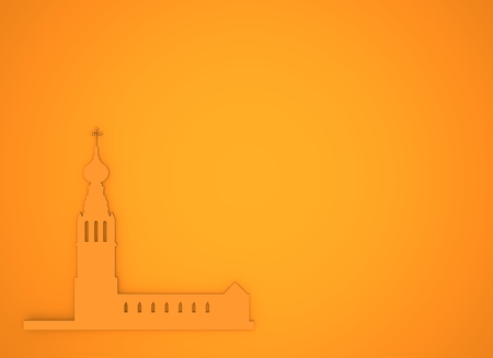 orthodox: Russian orthodox church silhouette. Travel banner background. 3D rendering. Stock Photo