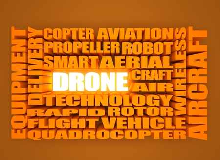 relative: Drone relative word cloud. 3D rendering, Neon shine drone word Stock Photo
