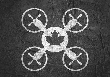 canadian icon: Drone quadrocopter icon. Flat symbol. Concrete textured. Canadian maple leaf symbol. Monochrome image Stock Photo
