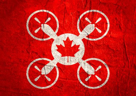 canadian maple leaf: Drone quadrocopter icon. Flat symbol. Concrete textured. Canadian maple leaf symbol