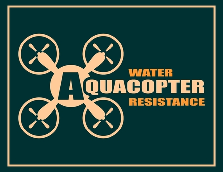 resistance: Drone quadrocopter icon. Flat symbol. Vector illustration. Aquacopter water resistance text