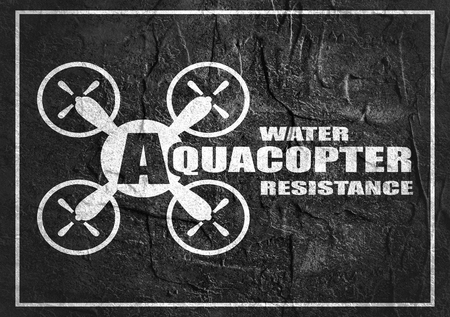 resistance: Drone quadrocopter icon. Flat symbol. Concrete textured. Aquacopter water resistance text. Monochrome image