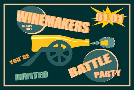 shoot: Design for wine event. Suitable for poster, promotional leaflet, invitation, banner or magazine cover. Winemakers battle party. Ancient wine bottle cannon shoot