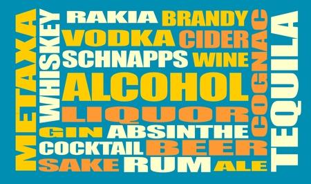 Verschiedene Getränke-Liste. Trinken Alkohol Getränk. Relative Wörter Wolke