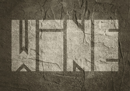 carribean: Drink alcohol beverage. Wine word lettering. Concrete textured
