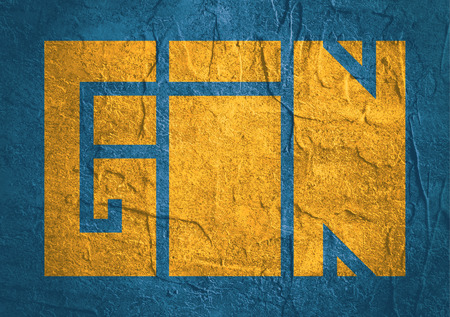carribean: Drink alcohol beverage. Gin word lettering. Concrete textured
