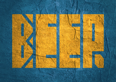 carribean: Drink alcohol beverage. Beer word lettering. Concrete textured Stock Photo