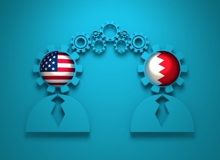 politic: Image relative to politic and economic relationship between USA and Bahrain. National flags in gears head of the businesman. Teamwork concept